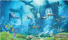 room wallpaper custom photo mural Underwater World Dolphin Remains home decor painting picture wall murals wallpaper for walls 3 d 3d Wallpaper Landscape, Sol 3d, Underwater Wallpaper, 3d Wall Murals, Photo Mural, Home Decor Paintings, Room Wallpaper, Underwater World, Pictures To Paint
