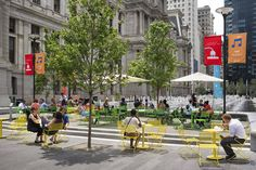 Vibrant colors and movable seating create a versatile space adjacent to the park's signature water feature, while also encouraging pedestrians to linger. Philadelphia City Hall, Discovery Green, Plaza Design, Glass Pavilion, Linear Park, Public Seating, Public Realm, Modern Landscaping, Pedestrian