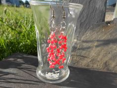 Earrings - Red Dangle Drop Handmade Beaded Earrings - OOAK - Jumprings and Red Acrylic Spacer Beads by TheYellowHouse39 on Etsy
