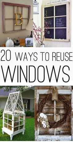 Got some old windows? Here are 20 great ideas to put them to good use with a collection of 20 ways to use old windows! Got some old windows? Here are 20 great ideas to put them to good use with a collection of 20 ways to use old windows! Old Window Frames, Window Art, Window Panes, Window Frame Ideas, Old Window Decor, Upcycled Crafts, Diy And Crafts, Rustic Crafts, Diy Projects To Try