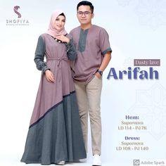 _Ori by Shofiya_ Arifah Couple. Muslim Fashion, Hijab Fashion, Abaya Designs Latest, Couples Modeling, Model Kebaya, Kebaya Muslim, Batik Fashion, Couple Outfits, Fashion Online