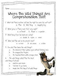Comprehension Test for Where the Wild Things Are and I Wanna Iguana
