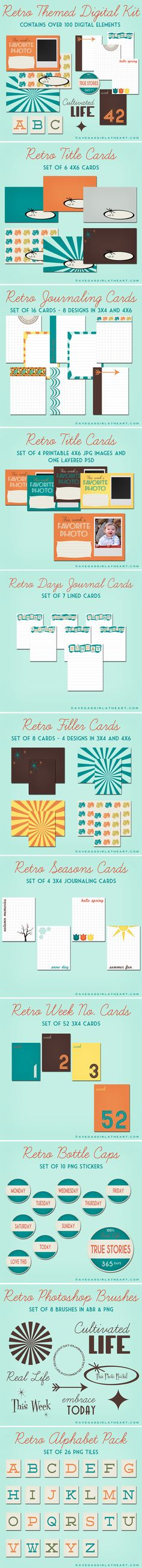 free Retro Kit (with over 100 pieces) from A Vegas Girl at Heart #ProjectLife #Scrapbooking #Cards http://www.avegasgirlatheart.com/2012/08/freebie-friday-retro-project-life-kit.html