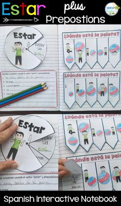 Spanish Interactive Notebook activities for teaching the verb Estar along with…