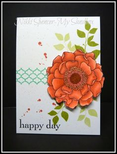 "handmade card from My Sandbox ... luv how she ""layered"" the Blended Bloom image using Blendabilities markers in Calypso Coral ... like the splatters too ... Stampin'Up!"