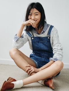 Madewell Adirondack Shorts Overalls worn with The Leftbank Sweater, Flannel Ex-Boyfriend Shirt + Orson Loafer