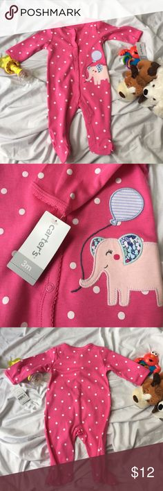 Carter's Interlock Snap Sleeper • New with Tags • cute Elephant appliqué • pink with white polka dots Carter's Pajamas