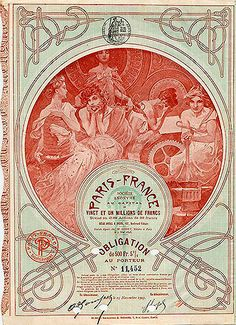 1903 certificate-certificado. Alphonse Mucha