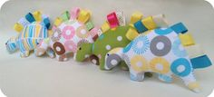 Flannel dino taggie toy flannel plush baby toy with by evrettou