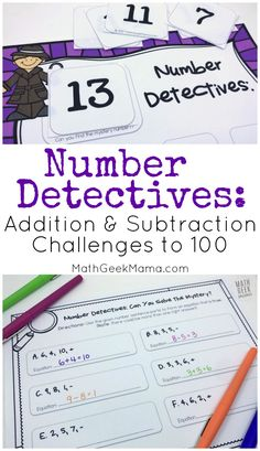 This engaging, open ended activity will help kids better understand addition and subtraction. These challenge problems can be used lots of different ways and will help kids to compose and decompose numbers from Free Printable Math Worksheets, Kindergarten Math Worksheets, Teaching Math, Free Printables, Teaching Tips, Fun Math Activities, Educational Activities For Kids, Math Resources, Math Games