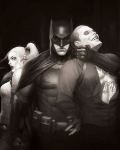 Batman (Ben Affleck), Joker (Jared Leto) And Harley Quinn (Margot Robbie)…
