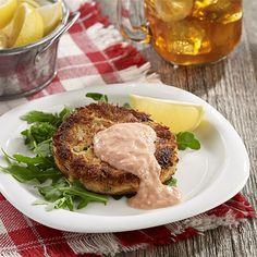 Crab Cakes with Spicy Tomato Mayo: Crab cakes topped with a spicy tomato mayo for a quick weeknight main dish recipe