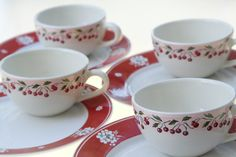 Vintage French Cherry Cups, Le Comptoir De Famille with Cherry Blossom Plates, Red and Green on heavy Creamy White China, for 4 French Kitchen, Vintage Kitchen, Cherry Oh Baby, Pink Rims, Cherry Kitchen, Teapots And Cups, Dessert Bread, White China, Brioche