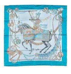 99b438c30698 HERMES Carré en soie imprimé turquoise à décor de cavalier «les feux  d artifice».
