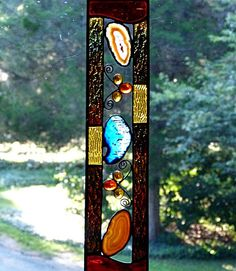 Stained Glass,Panel, Amber and Blue Geode, with decorative wire , glass nuggets