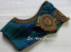 No photo description available. Wedding Saree Blouse Designs, Pattu Saree Blouse Designs, Silk Saree Blouse Designs, Saree Wedding, Simple Blouse Designs, Stylish Blouse Design, Maggam Work Designs, Designer Blouse Patterns, Blouse Models