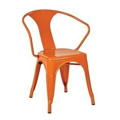 Office Star Products Patterson Orange Metal Chair (Set of Orange Powder Coated Metal Painted Chairs, Metal Chairs, Cool Chairs, Arm Chairs, Rattan Chairs, Swing Chairs, Leather Chairs, Green Armchair, Adirondack Chair Plans