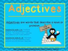 Adjectives - Task Cards - Foreman Teaches - TeachersPayTeachers.com free
