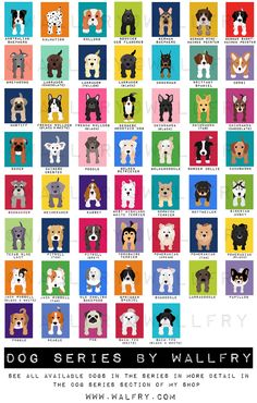 Dog prints Dog Art. Puppy nursery art prints Any 4 8x10. Baby nursery decor kids art. Kids wall art. Kids decor, puppy dogs by WallFry. $47.00, via Etsy. CAN CHOOSE BACKGROUND COLOR, Key!