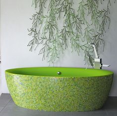 Bathtub With A Combination Of Green Plasticryl Inside And Sicis Mosaic  Outside With Polished Chrome Trims