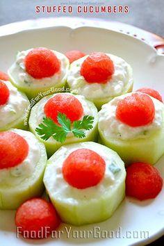 Stuffed Cucumbers | FoodForYourGood.com #stuffed_cucumbers