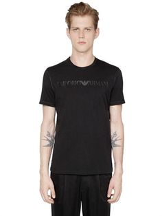 EMPORIO ARMANI Logo Printed Pima Cotton Jersey T-Shirt, Black. #emporioarmani #cloth #t-shirts