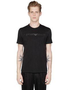 EMPORIO ARMANI Logo Printed Pima Cotton Jersey T-Shirt, Black. #emporioarmani #cloth #t-shirts