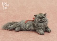 Dollhouse Miniature Grey Persian Cat by Paizley Pawz OOAK moveable head & tail