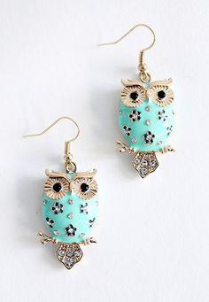 light blue owl earrings