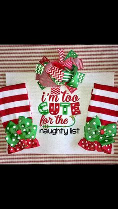 Too Cute for the Naughty List Girls White or Black Applique