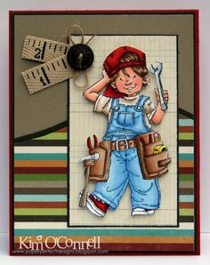 skin - E11, E00, E000  cheeks - R20, R30  hair - E37, E35,E53  hat and sneakers - R59, R29, R24, R05  overalls - B24, B23, B21  tool belt - E35, E34, E33