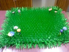 Faux Grass Centerpieces with Psychedelic Mushrooms