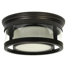 Plafonnier extérieur encastré, 1 lumière, noir