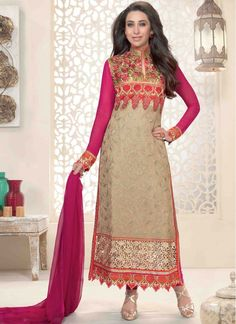 Colour: Beige, Pink Collection : Karishma Kapoor, KSD106 Top Fabric : Georgette Bottom Fabric : Heavy Santoon Innar Fabric : Heavy Santoon Dupatta Fabric : Nazneen Top Length : 3.5 mtr Inner Length : 4.5 mtr Bottom Length : (4.5 mtr Dupatt Length : 2.25 mtr  Buy at Just RS.1799/-