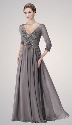 plus size gowns mother of bride 3/4 sleeve - Google Search