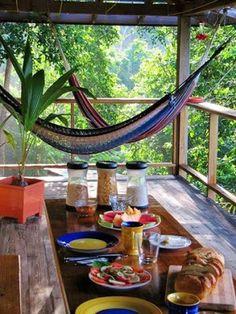 Wish you were here....  #breakfast   #deck   #hammocklife