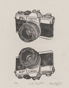 Shoot  Vintage Canon FTb Camera Linocut by minouette on Etsy, $32.00