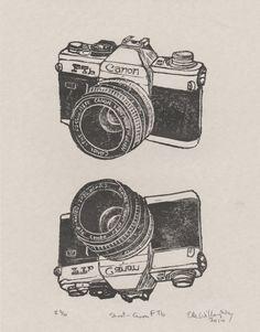 Shoot  Vintage Canon FTb Camera Linocut by minouette on Etsy, $32.00