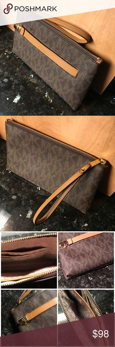 MICHAEL KORS wristlet Authentic MICHAEL KORS wristlet in pristine condition. Zero stains, pen marks, tears, rips, foul odor, etc. All gold-tone hardware in place. Like new. Pre-owned, but rarely used. If you're into wristlets, this is a perfect MK piece to add to you're collection. Michael Kors Bags Clutches & Wristlets