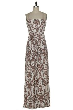 Mocha Damask Maxi Dress