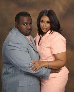 "If Kim Kardashian and Kanye West were ""regular people"". Celebrities get photoshopped into boring regular people & it's hilarious!"