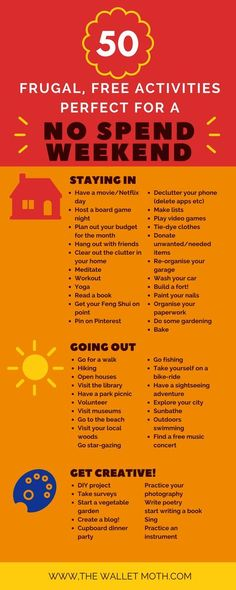 50 Free Activities for a No Spend Weekend! 50 Free Activities for a Frugal No Spend Weekend! Save money in your budget with these free activities for all the family. The Plan, How To Plan, Ways To Save Money, Money Tips, Money Saving Tips, Save Money Live Better, Managing Money, Saving Time, No Spend Challenge