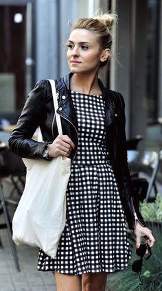 #street #style pattern print dress + leather jacket @wachabuy