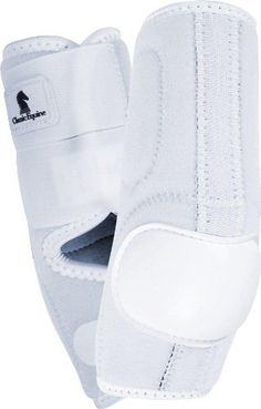 Neoprene Skid Boots - Hind only - White by Equibrand. $49.95. Clean, close, flexible fit for protection and comfort Asymmetrical skid cup protects your horse in the areas he needs it most Interior no-turn rolls ensure proper fit and prevent shifting Smooth textured Neolite skid cup is extremely abrasion-resistant and remains durable in harsh ground conditions. Simple and safe closure system for easy on and off application. Manufacturer Part Numbers: NSB201