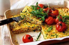 Zucchini & Sweet Potato Slice! YUM. This good-for-you savoury slice is great for lunch or with roast tomatoes for dinner.