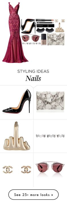 """""""old hollywood"""" by allthingsiris on Polyvore featuring Zuhair Murad, Christian Louboutin, NARS Cosmetics, Givenchy, Gorgeous Cosmetics, Chanel, Wendy Nichol, Rebecca Minkoff, Christian Dior and Eddie Borgo"""