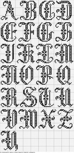 free cross stitch or filet crochet alphabet Cross Stitch Letters, Cross Stitch Samplers, Cross Stitch Charts, Cross Stitch Designs, Cross Stitching, Cross Stitch Embroidery, Stitch Patterns, Cross Stitch Font, Cross Stitch Letter Patterns