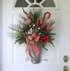 Christmas Wreath for Front Door-Farmhouse Christmas Wreath-Christmas Door Basket-Candy Cane Wreath-Galvanized Metal Basket-Etsy Christmas – The Best DIY Outdoor Christmas Decor Diy Christmas Decorations For Home, Elegant Christmas Decor, Christmas Wreaths For Front Door, Christmas Swags, Christmas Baskets, Xmas Wreaths, Outdoor Christmas, Rustic Christmas, Christmas Home