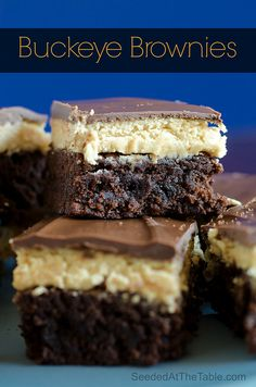 Buckeye Brownies Recipe ~ quick, rich and fudgy... Buckeyes and brownies go together like chocolate and peanut butter! And this has all four!