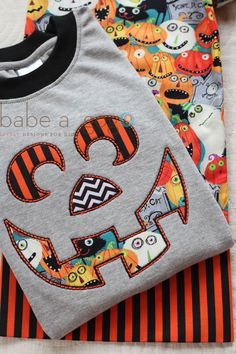 Jackolantern Halloween Embroidered Halloween Tee Shirt by babe-a-gogo for Toddlers, Boys or Girls